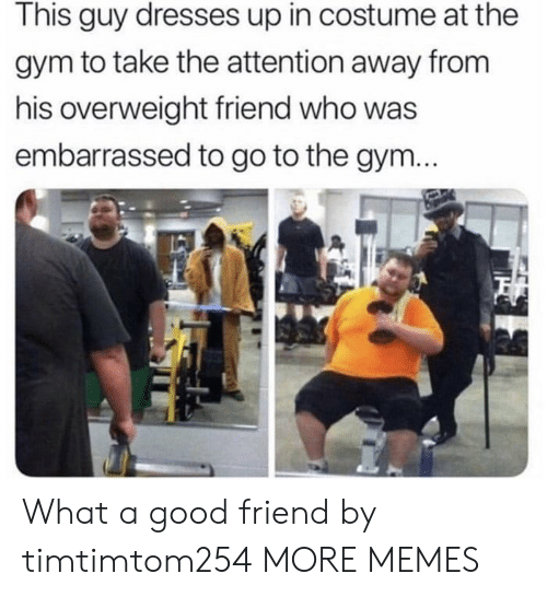 Dank, Gym, and Memes: This guy dresses up in costume at the  gym to take the attention away from  his overweight friend who was  embarrassed to go to the gym... What a good friend by timtimtom254 MORE MEMES