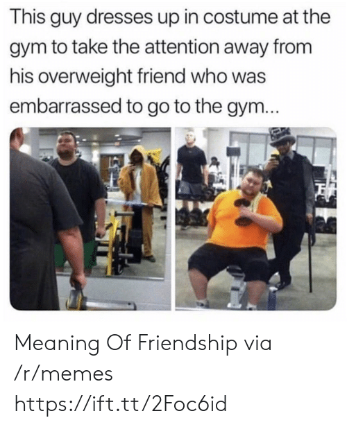 Gym, Memes, and Dresses: This guy dresses up in costume at the  gym to take the attention away from  his overweight friend who was  embarrassed to go to the gym Meaning Of Friendship via /r/memes https://ift.tt/2Foc6id