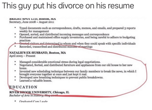 chicago family and news this guy put his divorce on his resume bkiuhi