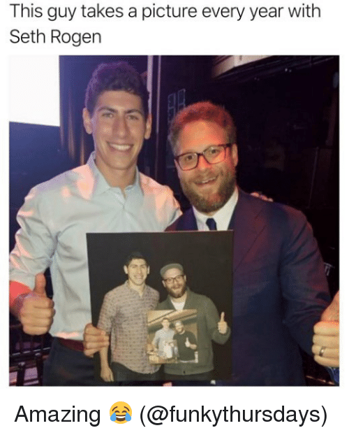 this guy takes a picture every year with seth rogen 22700062 this guy takes a picture every year with seth rogen amazing