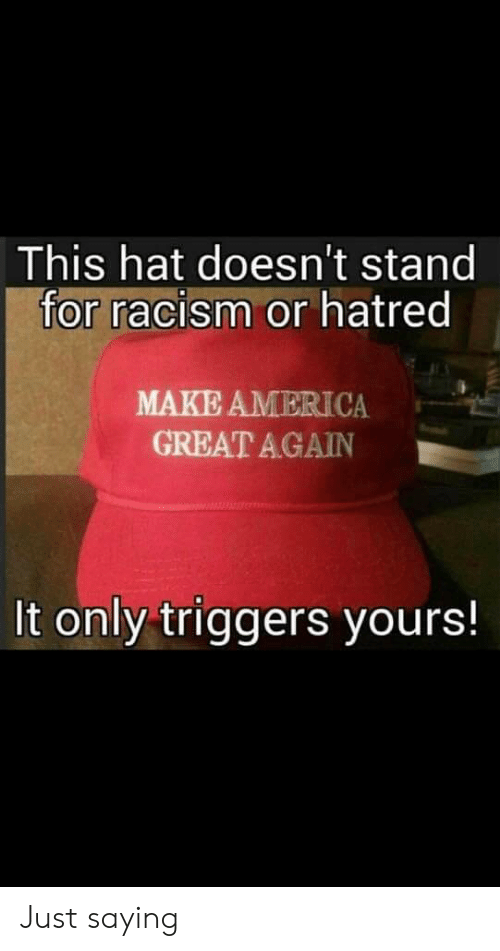 America, Racism, and Hatred: This hat doesn't stand  for racism or hatred  MAKE AMERICA  GREAT AGAIN  It only triggers yours! Just saying