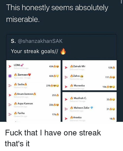 Funny, Goals, and Fuck: This honestly seems absolutely  miserable  S. @shanzakhanSAK  Your streak goals//  LOML  Zainab Mir  Delive  434  Delivered 58  128  Zarmeen  to view-Tm a  111凸  270  Muneeba  106凸  Opened ago  Anum. kamran  253凸  Musfirah C.  Deliye  90  Aqsa Kamran  pened 2m ag  226  Maheen Zafar<p  pened a  >  D Fariha  176  Opened 2m ago  Areeba  18凸  n3g0 Fuck that I have one streak that's it
