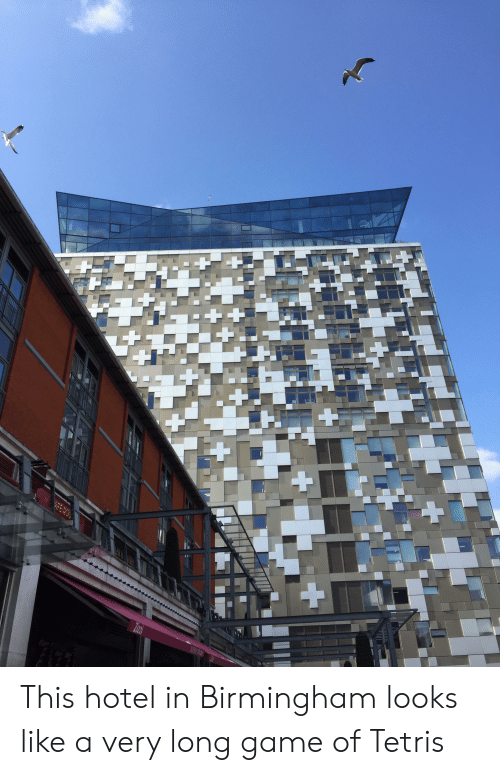 Game, Hotel, and Tetris: This hotel in Birmingham looks like a very long game of Tetris
