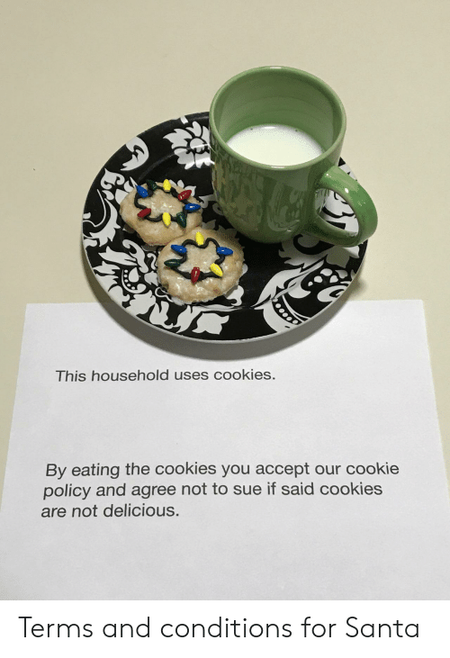 Cookies, Santa, and Cookie: This household uses cookies.  By eating the cookies you accept our cookie  policy and agree not to sue if said cookies  are not delicious. Terms and conditions for Santa