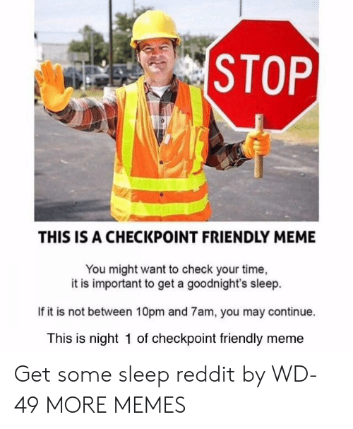 Dank, Meme, and Memes: THIS IS A CHECKPOINT FRIENDLY MEME  You might want to check your time,  it is important to get a goodnight's sleep.  If it is not between 10pm and 7am, you may continue.  This is night 1 of checkpoint friendly meme Get some sleep reddit by WD-49 MORE MEMES
