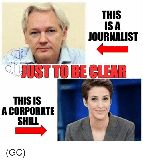 Memes, 🤖, and Corporation: THIS IS  A CORPORATE  SHILL  THIS  ISA  JOURNALIST (GC)