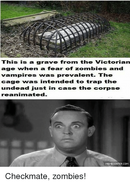 Memes, Victorian, and 🤖: This is a grave from the Victorian  age whern a fear of zombies and  vampires was prevalent. The  cage was intended to trap the  dead just in case the corpse  reanimated.  MEMECENTER.COM Checkmate, zombies!