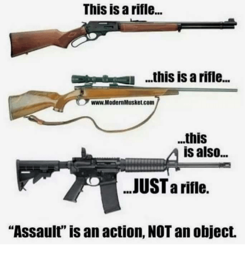 "Memes, 🤖, and Com: This is a rifle...  .his is a rifle..  www.ModernMusket.com  ..this  is also...  JUST a riflie.  ""Assault"" is an action, NOT an object."