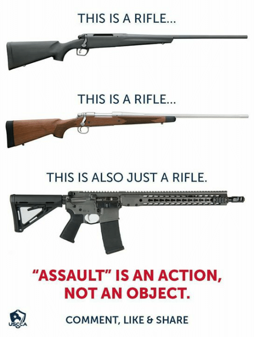 "Memes, 🤖, and Comment: THIS IS A RIFLE...  THIS IS A RIFLE...  THIS IS ALSO JUST A RIFLE  ""ASSAULT"" IS AN ACTION  NOT AN OBJECT.  COMMENT, LIKE & SHARE"