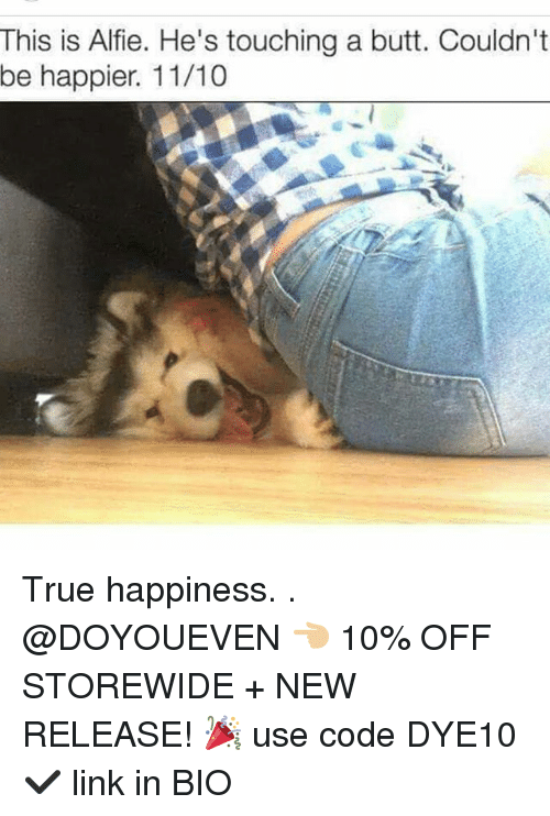 Butt, Gym, and True: This is Alfie. He's touching a butt. Couldn't  be happier. 11/10 True happiness. . @DOYOUEVEN 👈🏼 10% OFF STOREWIDE + NEW RELEASE! 🎉 use code DYE10 ✔️ link in BIO