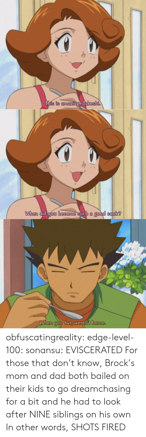 Dad, Tumblr, and Brock: This is amazing, Takeshi   When did you become such a good cook?   When you two weren't home. obfuscatingreality: edge-level-100:  sonansu: EVISCERATED   For those that don't know, Brock's mom and dad both bailed on their kids to go dreamchasing for a bit and he had to look after NINE siblings on his own In other words, SHOTS FIRED