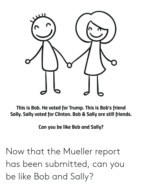 Be Like, Friends, and Memes: This is Bob. He voted for Trump. This is Bob's friend  Sally. Sally voted for Clinton. Bob & Sally are still friends.  Can you be like Bob and Sally? Now that the Mueller report has been submitted, can you be like Bob and Sally?