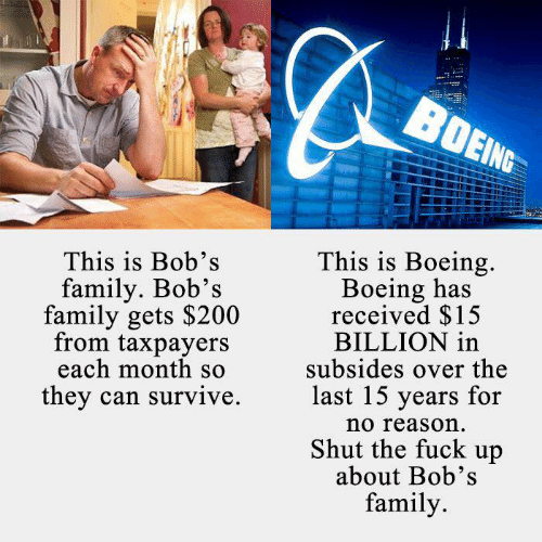 Family, Boeing, and Fuck: This is Bob's  family. Bob's  family gets $200  from taxpayers  each month so  they can survive.  This is Boeing.  Boeing has  received $15  BILLION in  subsides over the  last 15 years for  no reason  Shut the fuck up  about Bob's  family.