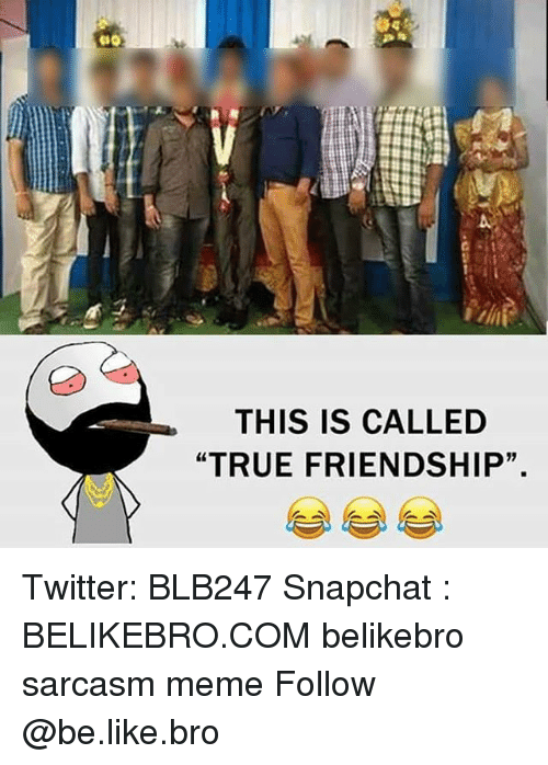 "Be Like, Meme, and Memes: THIS IS CALLED  ""TRUE FRIENDSHIP"". Twitter: BLB247 Snapchat : BELIKEBRO.COM belikebro sarcasm meme Follow @be.like.bro"