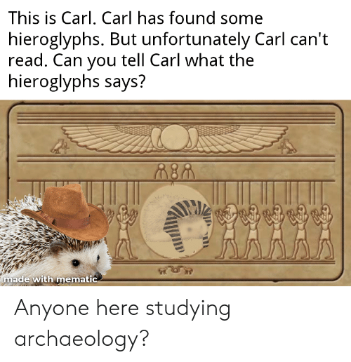 History, Can, and Archaeology: This is Carl, Carl has found some  hieroglyphs. But unfortunately Carl can't  read. Can you tell Carl what the  hieroglyphs says?  made with mematic Anyone here studying archaeology?