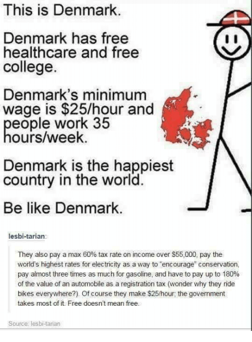 """Be Like, College, and Memes: This is Denmark  Denmark has free  healthcare and free  college.  Denmark's minimum  wage is $25/hour and  eople work 35  ours/week.  Denmark is the happiest  country in the world.  Be like Denmark  lesbi-tarian:  They also pay a max 60% tax rate on income over $55,000, pay the  world's highest rates for electricity as a way to encourage"""" conservation,  pay almost three times as much for gasoline, and have to pay up to 180%  of the value of an automobile as a registration tax (wonder why they ride  bikes everywhere?). Of course they make $25/hour; the govemment  takes most of it. Free doesnt mean free.  Source: lesbi-tarian"""