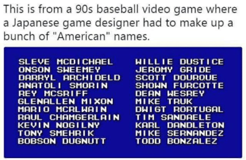 This Is From a 90s Baseball Video Game Where a Japanese Game