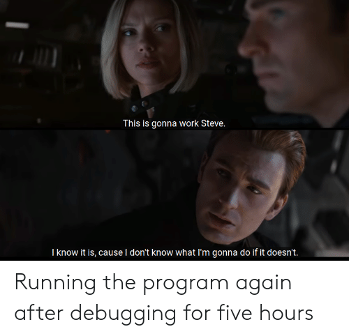 Work, Running, and Steve: This is gonna work Steve.  I know it is, cause I don't know what I'm gonna do if it doesn't. Running the program again after debugging for five hours