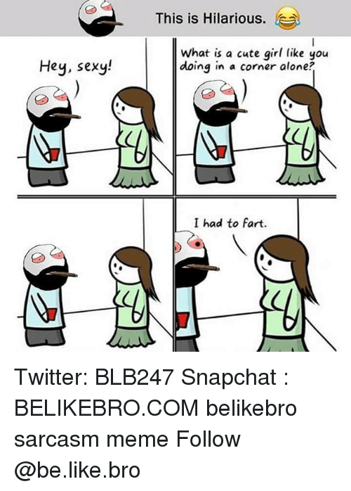 Being Alone, Be Like, and Cute: This is Hilarious.  Hey, sexy  What is a cute girl like you  doing in a corner alone?  I had to fart. Twitter: BLB247 Snapchat : BELIKEBRO.COM belikebro sarcasm meme Follow @be.like.bro