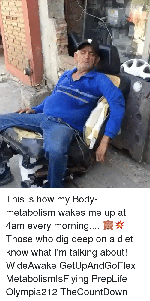 Memes, Diet, and 🤖: This is how my Body- metabolism wakes me up at 4am every morning.... 🙈💥 Those who dig deep on a diet know what I'm talking about! WideAwake GetUpAndGoFlex MetabolismIsFlying PrepLife Olympia212 TheCountDown