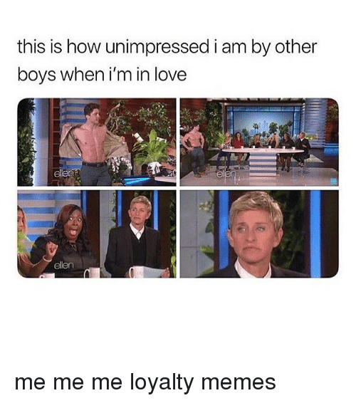 Love, Memes, and Ellen: this is how unimpressed i am by other  boys when i'm in love  ellen me me me loyalty memes