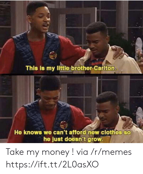 Clothes, Memes, and Money: This is my little brother Carlton.  He knows we can't afford new clothes so  he just doesn't grow Take my money ! via /r/memes https://ift.tt/2L0asXO