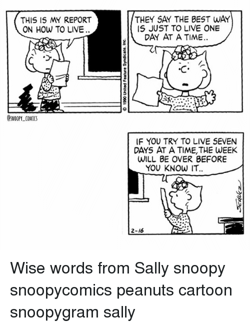 Memes, Best, and Cartoon: THIS IS MY REPORT  ON HOW TO LIVE  THEY SAY THE BEST WAY  IS JUST TO LIVE ONE  DAY AT A TIME.  C A  @SNOOPY COMICS  IF YOU TRY TO LIVE SEVEN  DAYS AT A TIME, THE WEEK  WILL BE OVER BEFORE  YOU KNOW IT  20  2-16 Wise words from Sally snoopy snoopycomics peanuts cartoon snoopygram sally