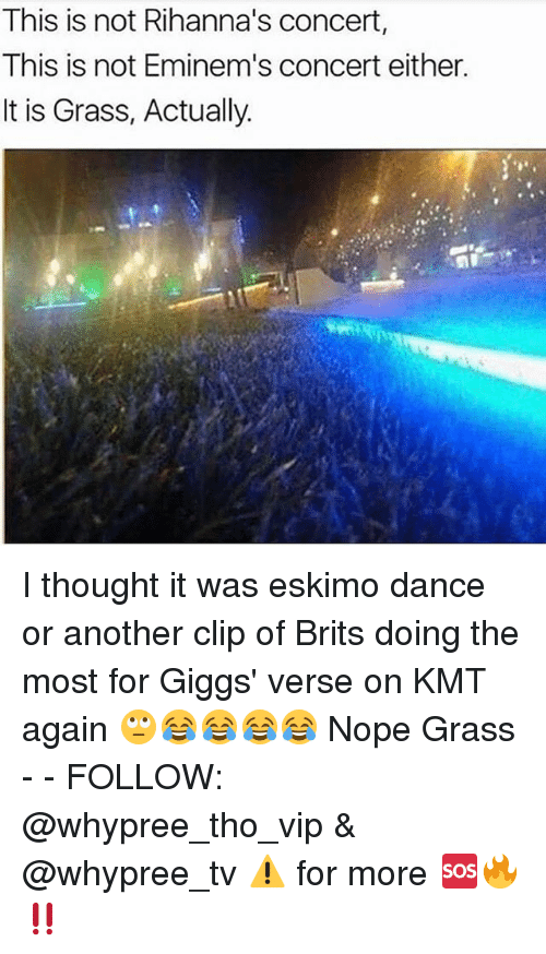 Memes, Nope, and Dance: This is not Rihanna's concert,  This is not Eminem's concert either.  It is Grass, Actually. I thought it was eskimo dance or another clip of Brits doing the most for Giggs' verse on KMT again 🙄😂😂😂😂 Nope Grass - - FOLLOW: @whypree_tho_vip & @whypree_tv ⚠️ for more 🆘🔥‼️