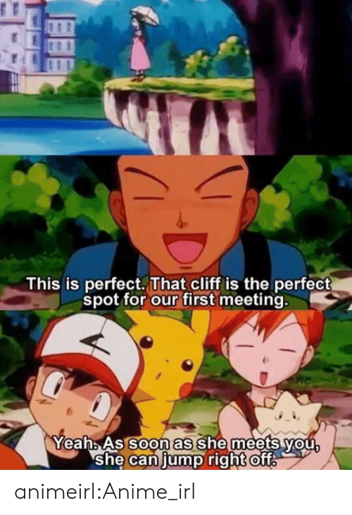 Anime, Tumblr, and Blog: This is perfect. That cliff is the perfect  spot for our first meeting.  oon as  YeahAs So she meets vou  she Caniump right ofT animeirl:Anime_irl