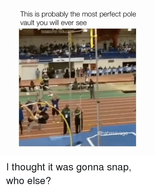 Thought, Vault, and Snap: This is probably the most perfect pole  vault you will ever see I thought it was gonna snap, who else?