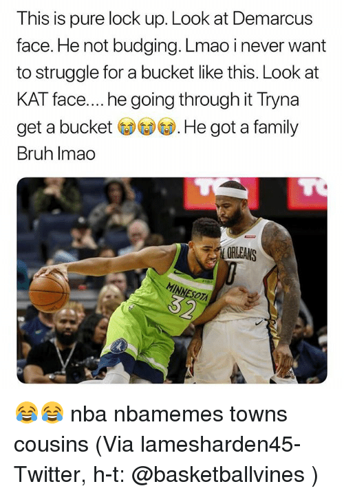 Basketball, Bruh, and Family: This is pure lock up. Look at Demarcus  face. He not budging. Lmao i never want  to struggle for a bucket like this. Look at  KAT face.... he going through it Tryna  get a bucket ( W. He got a family  Bruh Imao  ORLEANS 😂😂 nba nbamemes towns cousins (Via lamesharden45-Twitter, h-t: @basketballvines )