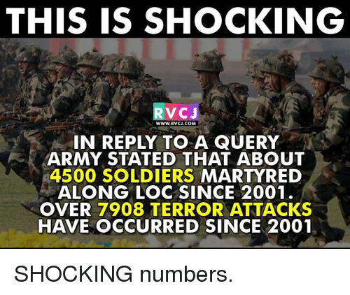 Memes, Soldiers, and Army: THIS IS SHOCKING  VC J  WWW.RVCJ.COM  IN REPLY TO A QUERY  ARMY STATED THAT ABOUT  4500 SOLDIERS  MARTYRED  ALONG LOC SINCE 2001.  OVER 7908 TERROR ATTACKS  HAVE OCCURRED SINCE 2001 SHOCKING numbers.
