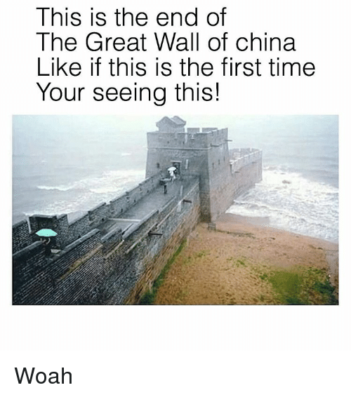 Memes, This Is the End, and 🤖: This is the end of  The Great Wall of china  Like if this is the first time  Your seeing this! Woah