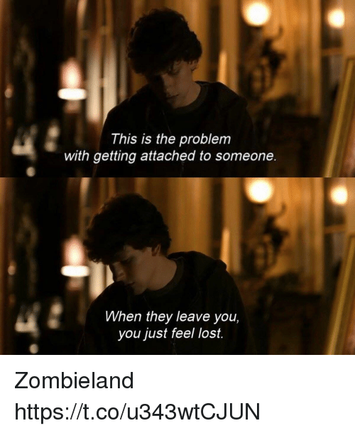Memes, Zombieland, and Lost: This is the problem  with getting attached to someone  When they leave you,  you just feel lost. Zombieland https://t.co/u343wtCJUN