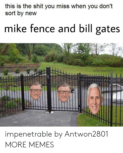 Bill Gates, Dank, and Memes: this is the shit you miss when you don't  sort by new  mike fence and bill gates  ulantwon2801 impenetrable by Antwon2801 MORE MEMES