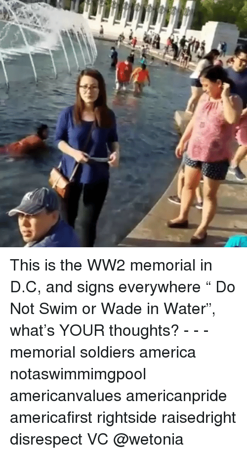 "America, Memes, and Soldiers: This is the WW2 memorial in D.C, and signs everywhere "" Do Not Swim or Wade in Water"", what's YOUR thoughts? - - - memorial soldiers america notaswimmimgpool americanvalues americanpride americafirst rightside raisedright disrespect VC @wetonia"