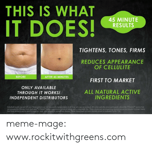 "Meme, Tumblr, and Blog: THIS IS WHAT  IT DOES!  45 MINUTE  RESULTS  TIGHTENS, TONES, FIRMS  REDUCES APPEARANCE  OF CELLULITE  BEFORE  AFTER 45 MINUTES  FIRST TO MARKET  ONLY AVAILABLE  ALL NATURAL ACTIVE  INGREDIENTS  THROUGH IT WORKS!  INDEPENDENT DISTRIBUTORS  Individual results can and will vary. These pictures are not necessarily representative of all those who use our products. All before and after photo participants utiized the FITworks!"" system that  ncorporates the Uhmate Body Applicator"" It Works"" dietary supplements, physical activity, and a reasonable diet. These photos and accompanying descriptions are not intended to make daims  that these products can be used to diagnose, treat, cure, mitigate or prevent any disease. These claims have not been dinically proven or evaluated by the FDA meme-mage:  www.rockitwithgreens.com"