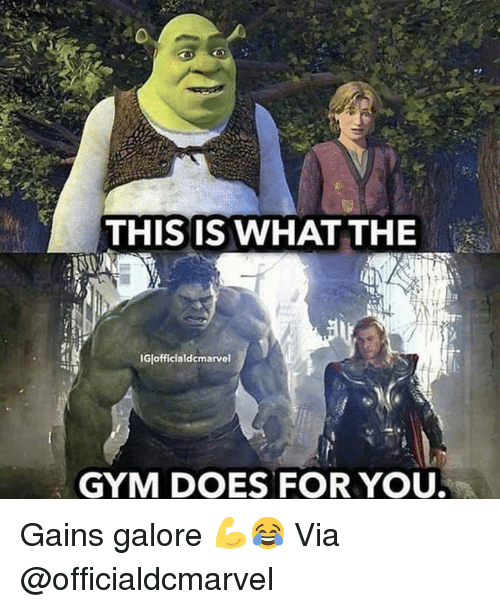 Gym, Via, and You: THIS IS WHAT THE  IGlofficialdcmarvel  GYM DOES FOR YOU Gains galore 💪😂 Via @officialdcmarvel