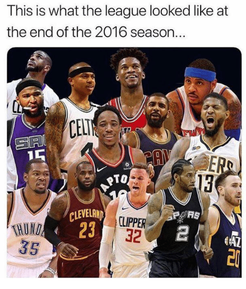 The League, League, and What: This is what the league looked like at  the end of the 2016 season..  CELT  rule  PTO  13  THUND  35  CLEVELRN  23  CLIPPER  32