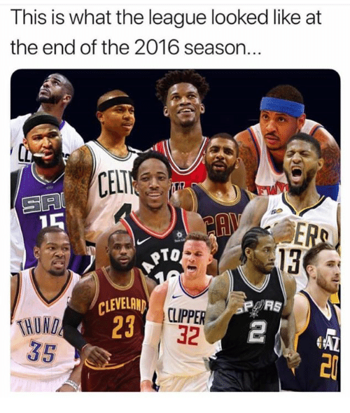 Memes, The League, and 🤖: This is what the league looked like at  the end of the 2016 season..  CEL  SA  To  13  THUND  35  23  CLIPPER  32  2