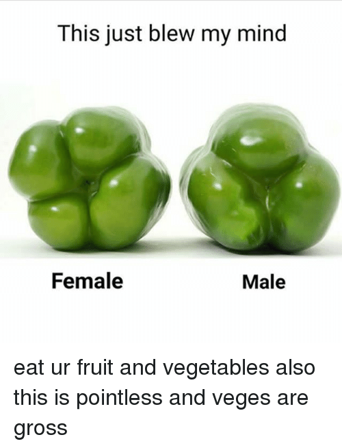 Memes, Mind, and 🤖: This just blew my mind  Female  Male eat ur fruit and vegetables also this is pointless and veges are gross