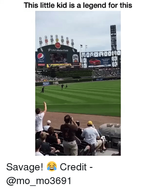 Memes, Savage, and Pepsi: This little kid is a legend for this  US Cellular Field  pepsi Savage! 😂 Credit - @mo_mo3691