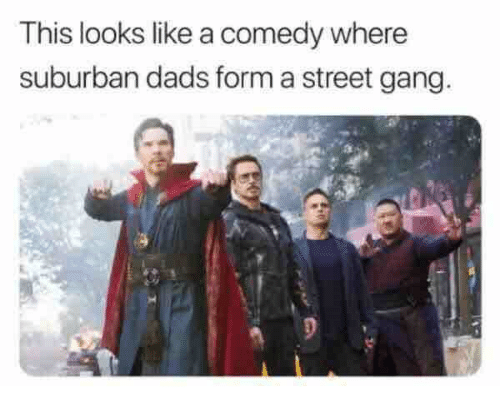 Gang, Comedy, and Suburban: This looks like a comedy where  suburban dads form a street gang
