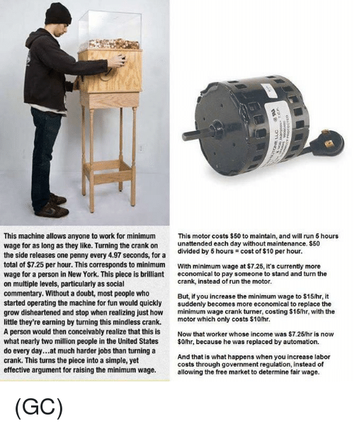 Memes, New York, and Run: This machine allows anyone to work for minimum This motor costs $50 to maintain, and will run 5 hours  wage for as long as they like. Turning the crank onunattended each day without maintenance. $50  the side releases one penny every 4.97 seconds, for a  total of $7.25 per hour. This corresponds to minimum With minimum wage at $7.25, it's currently more  wage for a person in New York. This piece is brillianteconomical to pay someone to stand and turn the  on multiple levels, particularly as social  commentary. Without a doubt, most people who  started operating the machine for fun would quicklysuddenly becomes more economical to replace the  grow disheartened and stop when realizing just ho minimum wage crank turner, costing $15/hr, with the  divided by 5 hours = cost of $10 per hour.  6  crank, instead of run the motor.  But, if you increase the minimum wage to $15/hr, it  tle they're earning by turning this mindless crank. motor which only costs $10hr  A person would then conceivably realize that this is Now that worker whose income was $7.25/hr is now  what nearly two million people in the United States $0/hr, because he was replaced by automation.  do every day...at much harder jobs than turning a  crank. This turns the piece into a simple, yet  effective argument for raising the minimum wage.allowing the free market to determine fair wage.  rne the iece into a cimnle weAnd that is what happens when you increase labor  costs through government regulation, instead of (GC)