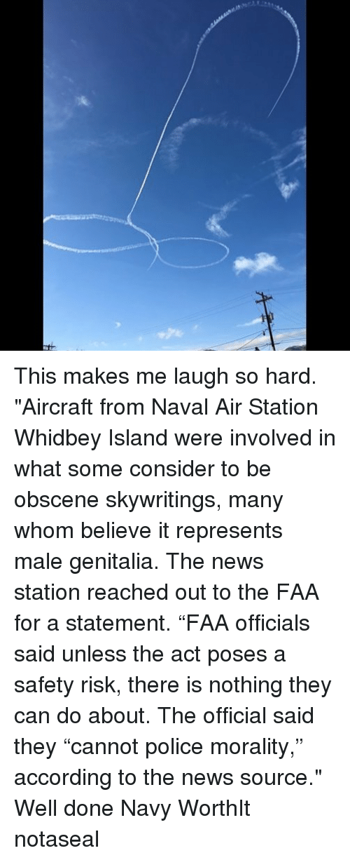 """Memes, News, and Police: This makes me laugh so hard. """"Aircraft from Naval Air Station Whidbey Island were involved in what some consider to be obscene skywritings, many whom believe it represents male genitalia. The news station reached out to the FAA for a statement. """"FAA officials said unless the act poses a safety risk, there is nothing they can do about. The official said they """"cannot police morality,"""" according to the news source."""" Well done Navy WorthIt notaseal"""
