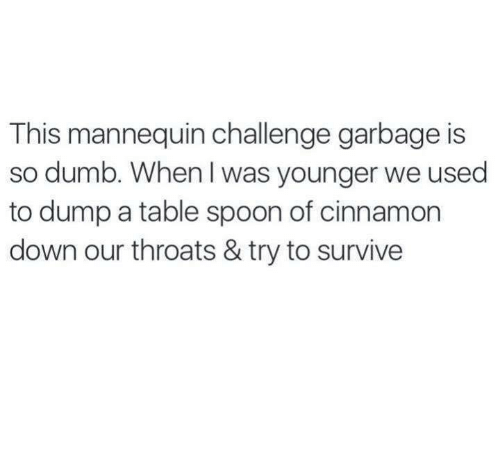 Dank, Dumb, and Mannequin: This mannequin challenge garbage is  so dumb. When was younger we used  to dump a table spoon of cinnamon  down our throats & try to survive