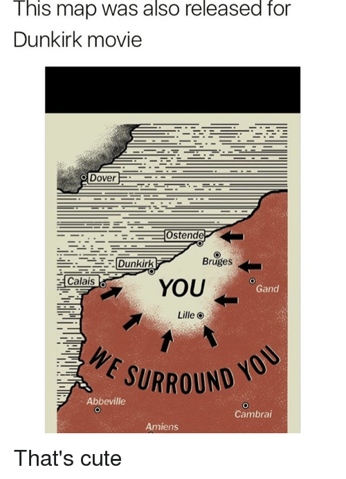 This Map Was Also Released for Dunkirk Movie Dover Ostende Bruges