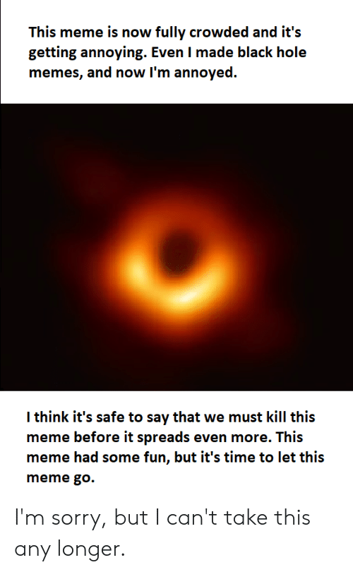 Meme, Memes, and Reddit: This meme is now fully crowded and it's  getting annoying. Even I made black hole  memes, and now I'm annoyed.  I think it's safe to say that we must kill this  meme before it spreads even more. This  meme had some fun, but it's time to let this  meme go. I'm sorry, but I can't take this any longer.