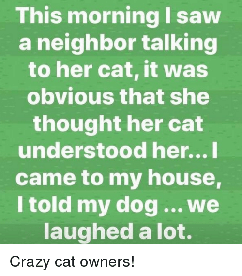 Crazy, My House, and Saw: This morning I saw  a neighbor talking  to her cat, it was  obvious that she  thought her cat  understood her...I  came to my house  I told my dog ...we  laughed a lot.