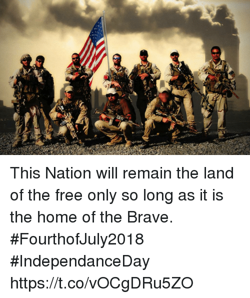 Memes, Brave, and Free: This Nation will remain the land of the free only so long as it is the home of the Brave. #FourthofJuly2018 #IndependanceDay https://t.co/vOCgDRu5ZO